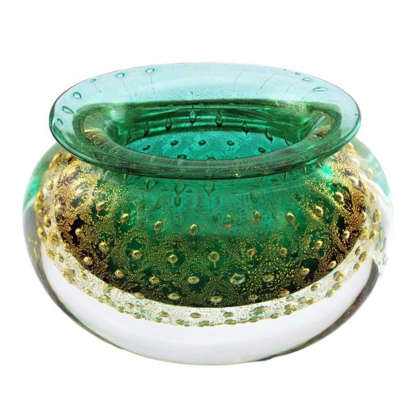 Ars Cenedese Murano - Bollinato Bown 24k Gold - Green - Handcrafted Venetian Vase Handmade by Venetian Glassmasters - Luxury