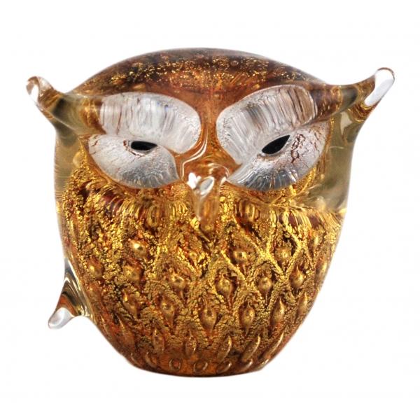 Ars Cenedese Murano - Bollinato Owl 24k Gold - Amber - Handcrafted Venetian Vase Handmade by Venetian Glassmasters - Luxury