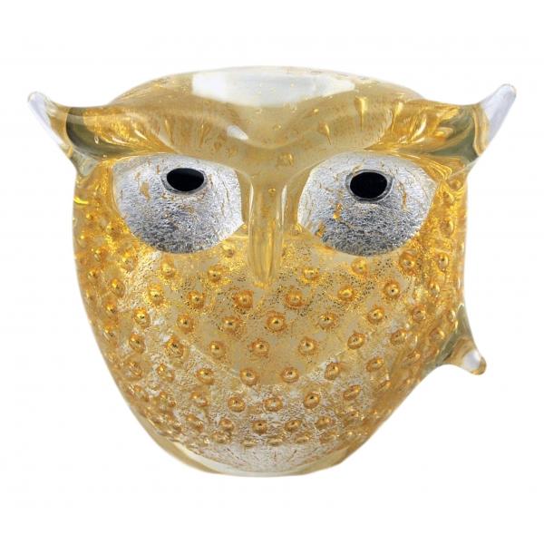 Ars Cenedese Murano - Bollinato Owl 24k Gold - White - Handcrafted Venetian Vase Handmade by Venetian Glassmasters - Luxury