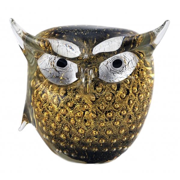 Ars Cenedese Murano - Bollinato Owl 24k Gold - Black - Handcrafted Venetian Vase Handmade by Venetian Glassmasters - Luxury