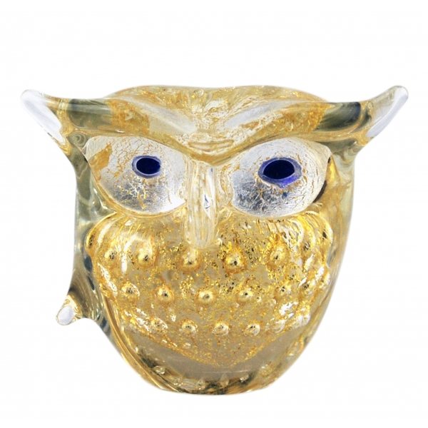 Ars Cenedese Murano - Bollinato Owl 24k Gold - Crystal - Handcrafted Venetian Vase Handmade by Venetian Glassmasters - Luxury