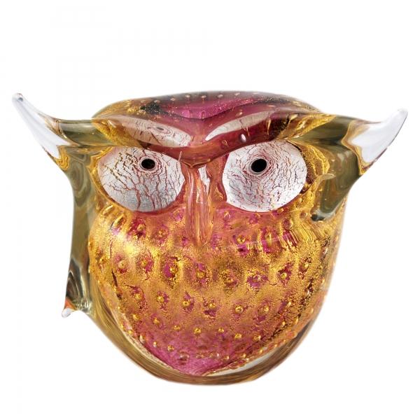 Ars Cenedese Murano - Bollinato Owl 24k Gold - Ruby - Handcrafted Venetian Vase Handmade by Venetian Glassmasters - Luxury