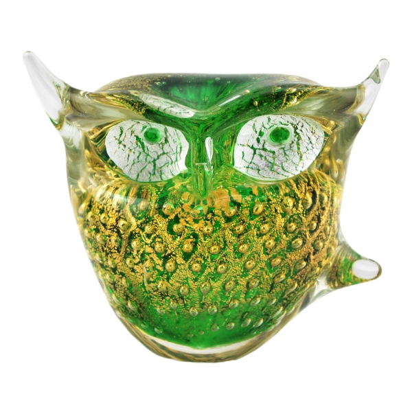 Ars Cenedese Murano - Bollinato Owl 24k Gold - Green - Handcrafted Venetian Vase Handmade by Venetian Glassmasters - Luxury
