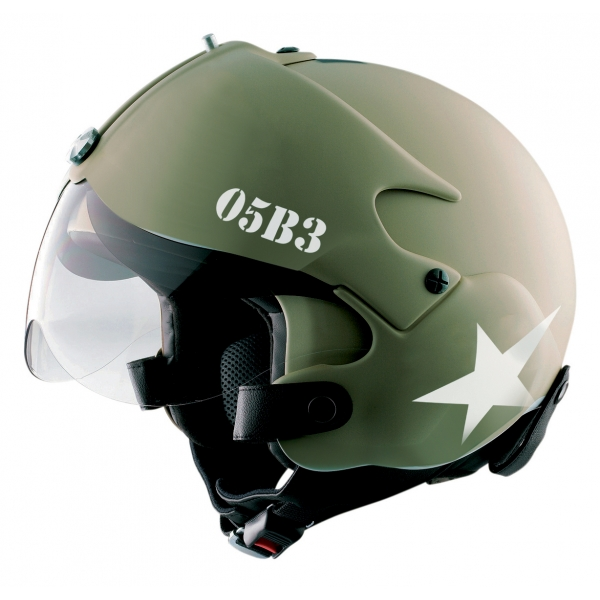 Osbe Italy - Tornado Mat Green Military - Motorcycle Helmet - High Quality - Made in Italy