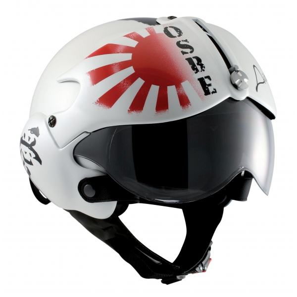 Osbe Italy - Tornado White Pearl Japan Gr. Sol Levante - Motorcycle Helmet - High Quality - Made in Italy