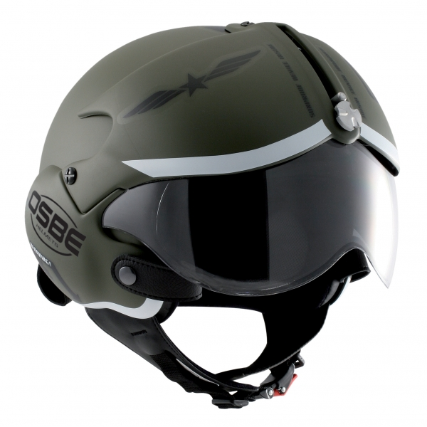 Osbe Italy - Tornado Mat Green Military Graphic - Motorcycle Helmet - High Quality - Made in Italy