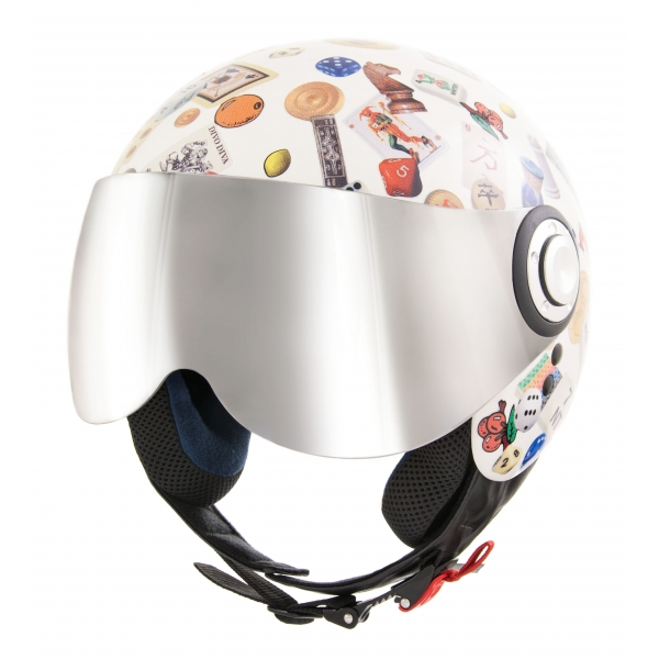 Divo Diva - Gambling Shiny White - Special Edition - Osbe Italy - Motorcycle Helmet - High Quality - Made in Italy