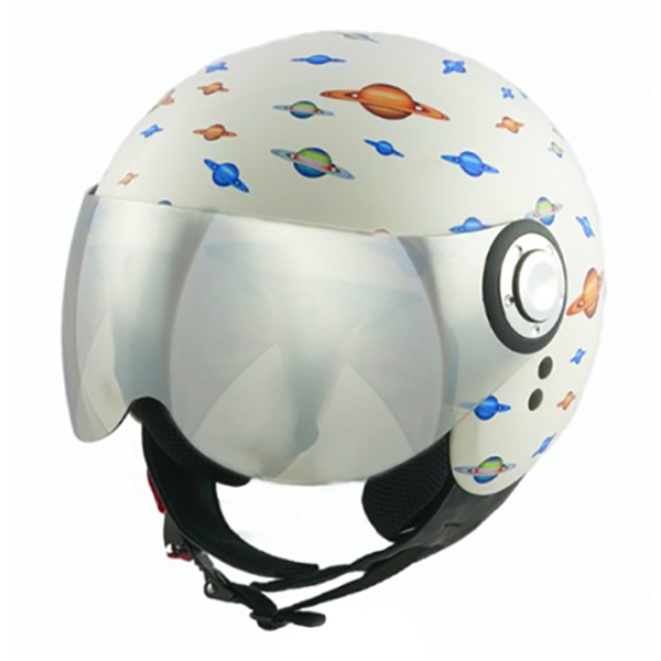 Divo Diva - Planets Shiny White - Special Edition - Osbe Italy - Motorcycle Helmet - High Quality - Made in Italy