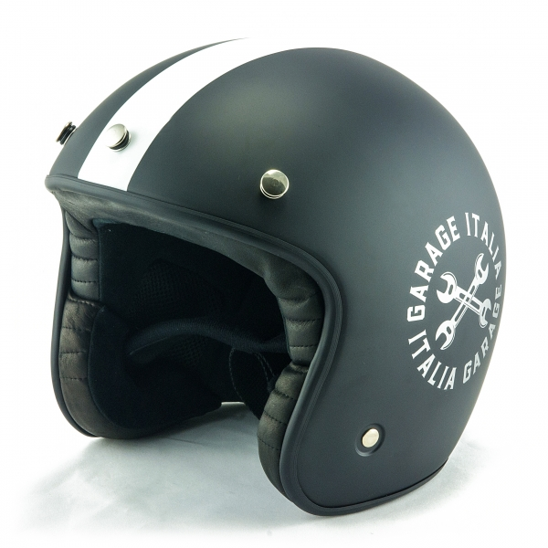 Osbe Italy - Garage Italia - Nero Opaco - Special Edition - Casco da Moto - Alta Qualità - Made in Italy