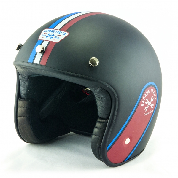 Osbe Italy - Garage Italia - Nero Opaco / Bordeaux - Special Edition - Casco da Moto - Alta Qualità - Made in Italy