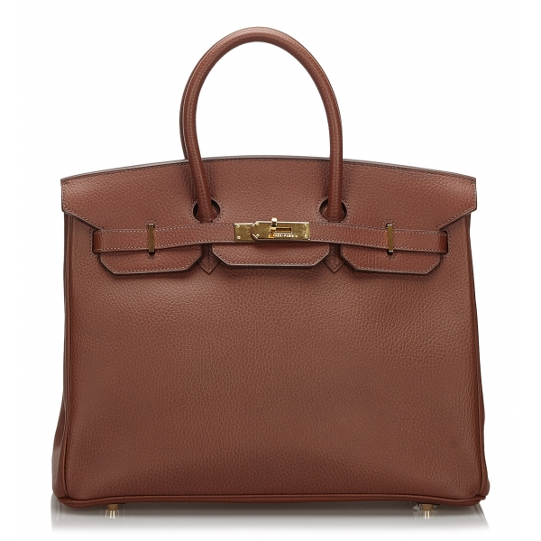 Hermès Vintage - Clemence Terre Birkin 35 Bag - Marrone - Borsa in Pelle e Vitello - Alta Qualità Luxury