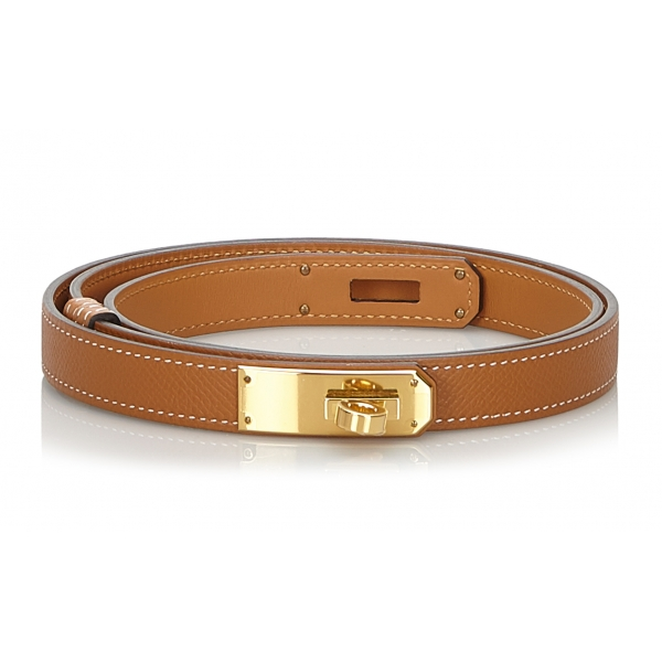 Hermès Vintage - Epsom Kelly Belt - Marrone Oro - Cintura in Pelle - Alta Qualità Luxury