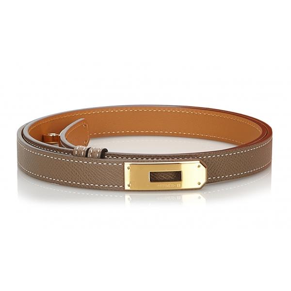 Hermès Vintage - Epsom Kelly Belt - Grigio Oro - Cintura in Pelle - Alta Qualità Luxury