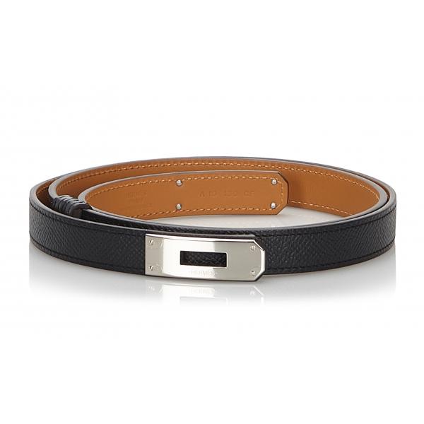 Hermès Vintage - Epsom Kelly Belt - Nero Argento - Cintura in Pelle - Alta Qualità Luxury