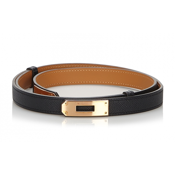 Hermès Vintage - Epsom Kelly Belt - Nero Oro - Cintura in Pelle - Alta Qualità Luxury