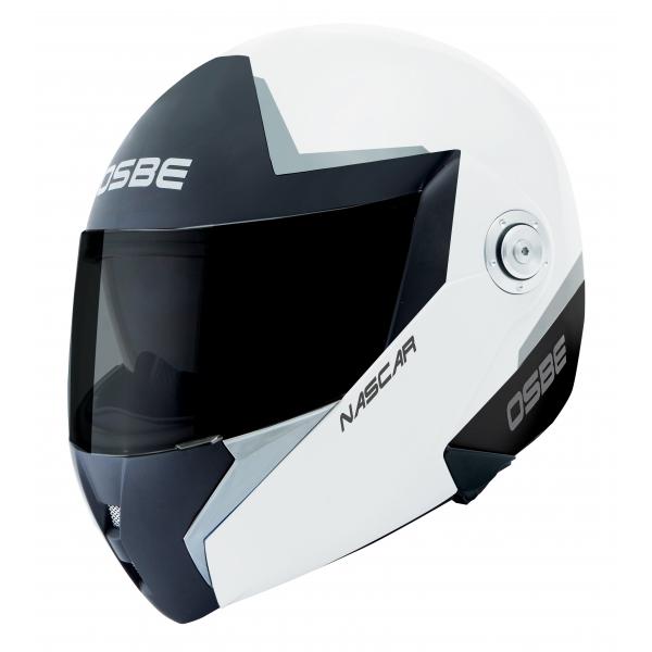 Osbe Italy - Nascar Argento Nero Bianco - Casco da Moto - Alta Qualità - Made in Italy