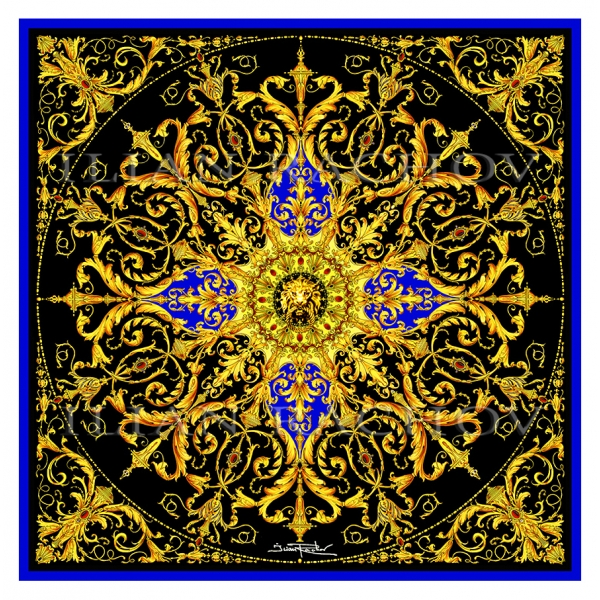 Ilian Rachov - Black and Gold Rosone Silk Scarf - Baroque - Silk Foulard - Luxury High Quality