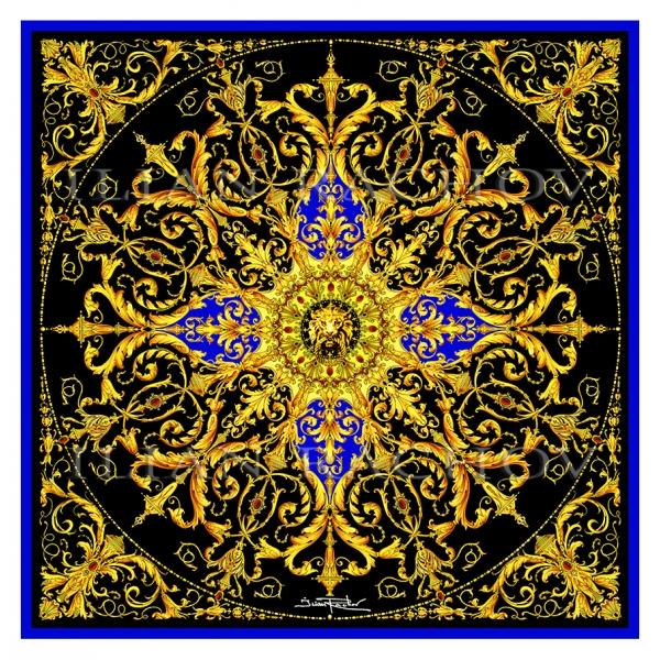 Ilian Rachov - Rosone Nero e Oro Silk Scarf - Baroque - Foulard in Seta - Alta Qualità Luxury