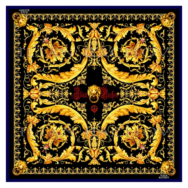 Ilian Rachov - Gold Barocco Silk Scarf - Baroque - Silk Foulard - Luxury High Quality