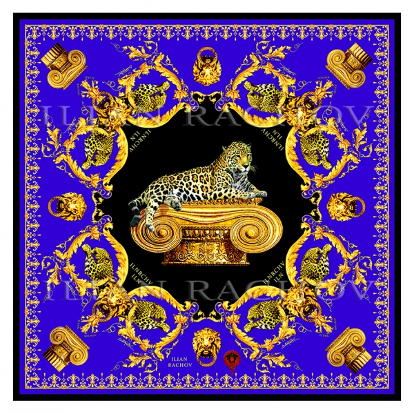 Ilian Rachov - Imperial Jaguar Blue Silk Scarf - Baroque - Silk Foulard - Luxury High Quality