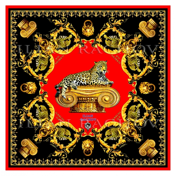 Ilian Rachov - Imperial Jaguar Red Silk Scarf - Baroque - Silk Foulard - Luxury High Quality