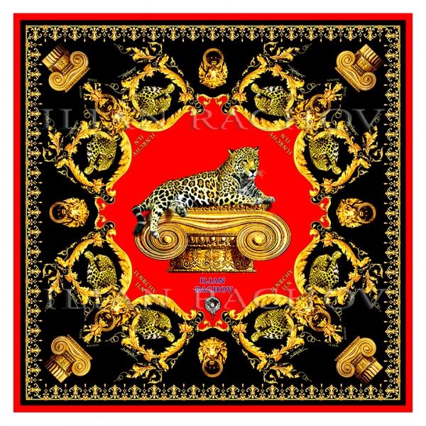 Ilian Rachov - Imperial Jaguar Rosso Silk Scarf - Baroque - Foulard in Seta - Alta Qualità Luxury