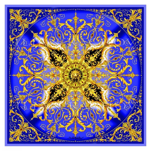 Ilian Rachov - King Blu Rosone Silk Scarf - Baroque - Foulard in Seta - Alta Qualità Luxury