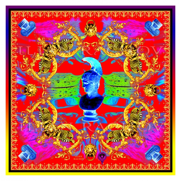 Ilian Rachov - Minerva Imperial Pop Red Silk Scarf - Baroque - Foulard in Seta - Alta Qualità Luxury