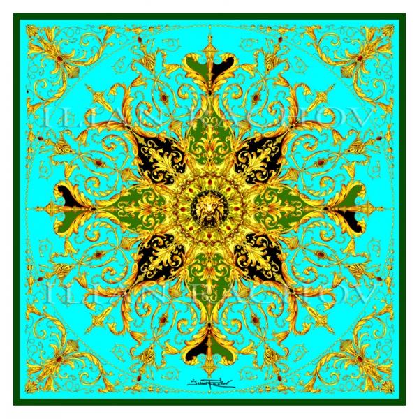 Ilian Rachov - Turquoise Rosone Silk Scarf - Baroque - Foulard in Seta - Alta Qualità Luxury