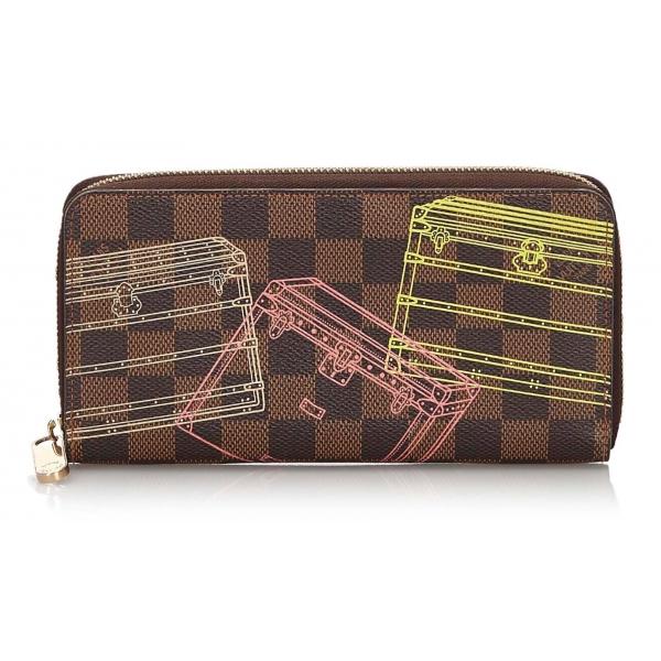 Louis Vuitton Vintage - Damier Ebene Inventuer Trunks Locks Zippy Wallet - Marrone - Portafoglio in Pelle - Alta Qualità Luxury