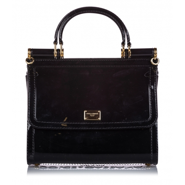 Dolce & Gabbana Vintage - Mini Sicily Satchel Bag - Black - PVC Handbag - Luxury High Quality
