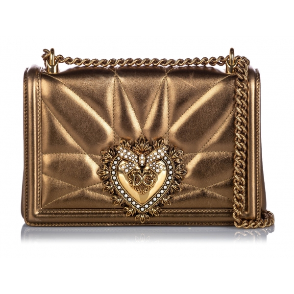 Dolce & Gabbana Vintage - Metallic Leather Devotion Crossbody Bag - Gold - Leather Handbag - Luxury High Quality