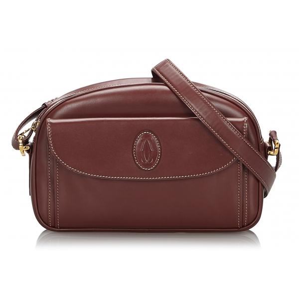 Cartier Vintage - Leather Must De Cartier Crossbody Bag - Bordeau - Borsa in Pelle - Alta Qualità Luxury