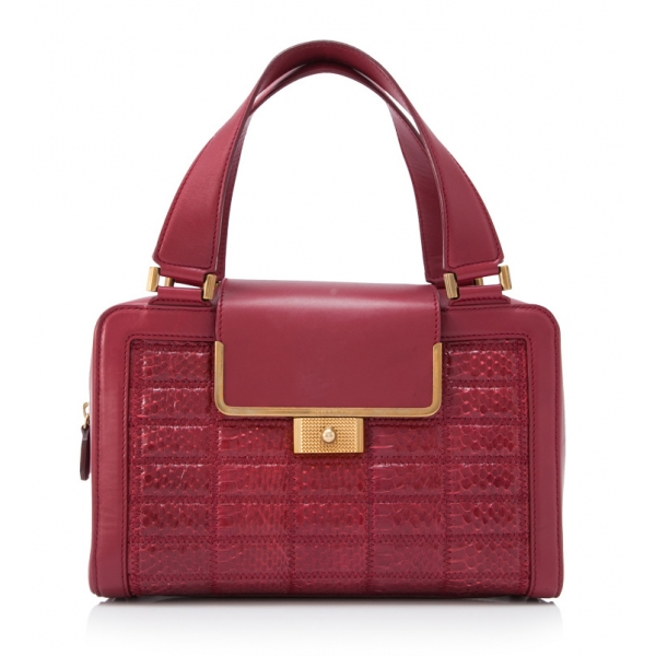 Jimmy Choo Vintage - Leather Handbag - Rossa - Borsa in Pelle di Pitone - Alta Qualità Luxury