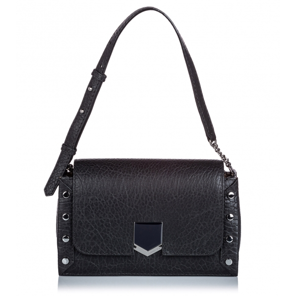 Jimmy Choo Vintage - Embossed Lockett Shoulder Bag - Black - Leather and Calf Handbag - Luxury High Quality