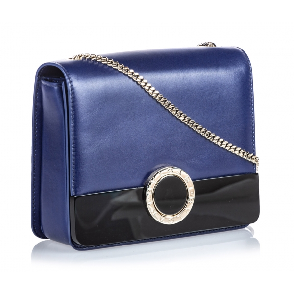 Bulgari Vintage - Leather Bulgari Chain Crossbody Bag - Blu Nero - Borsa in Pelle e Vitello - Alta Qualità Luxury