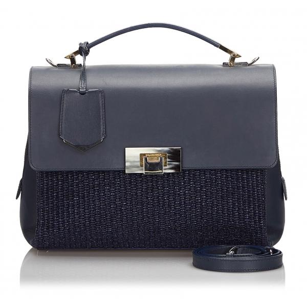 Balenciaga Vintage - Straw Le Dix Satchel - Blu Navy - Borsa in Paglia e Pelle - Alta Qualità Luxury