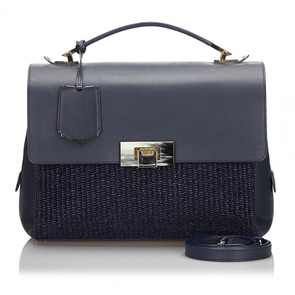 Balenciaga Vintage - Straw Le Dix Satchel - Blue Navy - Straw and Leather Handbag - Luxury High Quality