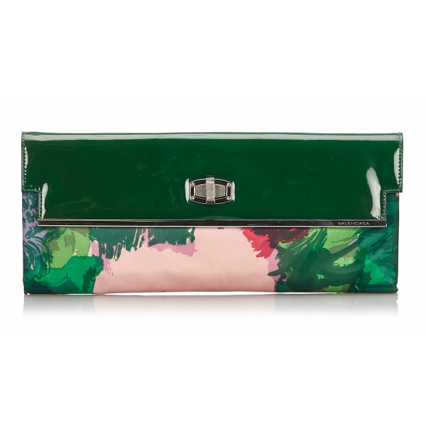 Balenciaga Vintage - Satin Clutch Bag - Green - Fabric and Patent Leather Clutch Bag - Luxury High Quality