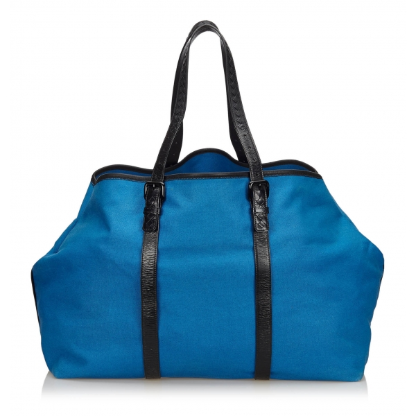 Bottega Veneta Vintage - Canvas Weekender Bag - Blu - Borsa in Pelle - Alta Qualità Luxury