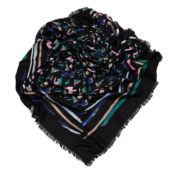 Louis Vuitton Vintage - Splash Scarf - Black - Silk and Wool Scarf - Luxury High Quality