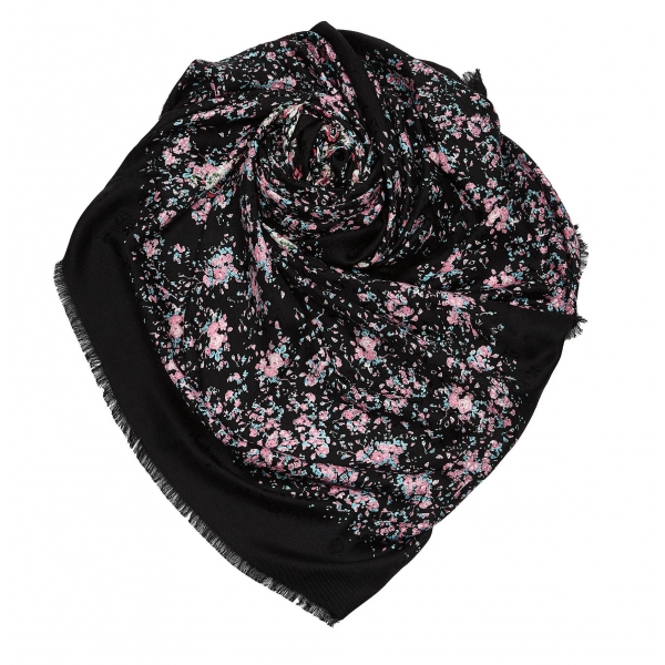Louis Vuitton Vintage - Lvberty Shawl Scarf - Black - Silk and Wool Scarf - Luxury High Quality