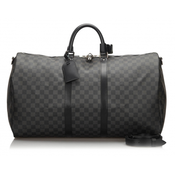 Louis Vuitton Vintage - Damier Graphite Keepall Bandouliere 55 Bag - Black Gray - Leather Handbag - Luxury High Quality