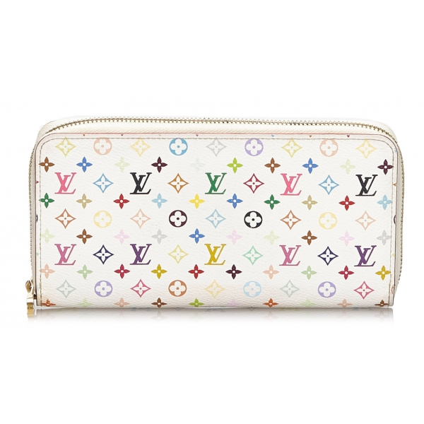 Louis Vuitton Vintage - Monogram Multicolore Zippy Wallet - Bianco - Portafoglio in Tela Monogramma - Alta Qualità Luxury