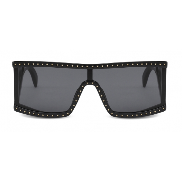 Moschino - Rectangular Sunglasses with Micro Studs - Black - Moschino Eyewear