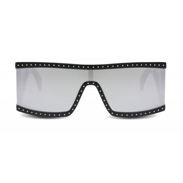 Moschino - Rectangular Sunglasses with Silver Mirrored Lenses - Black - Moschino Eyewear