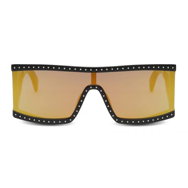Moschino - Rectangular Sunglasses with Gold Mirrored Lenses - Black - Moschino Eyewear