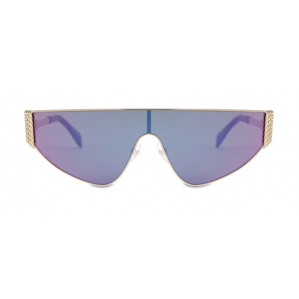 Moschino - Flat-Top Bijou Chain Sun Mask - Purple - Moschino Eyewear