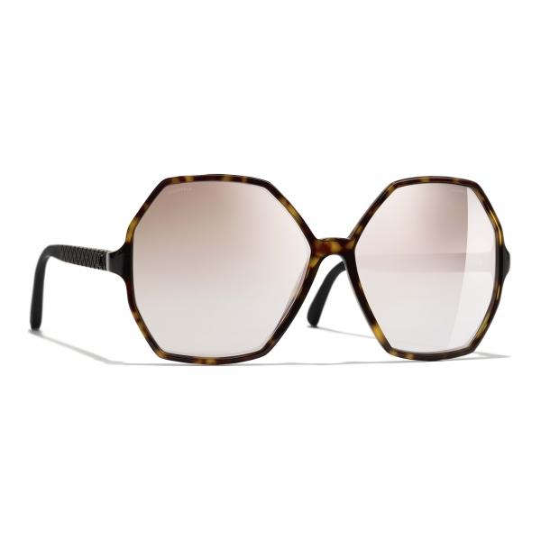 Chanel - Occhiali Rotondi da Sole - Tartaruga Beige Specchiato - Chanel Eyewear