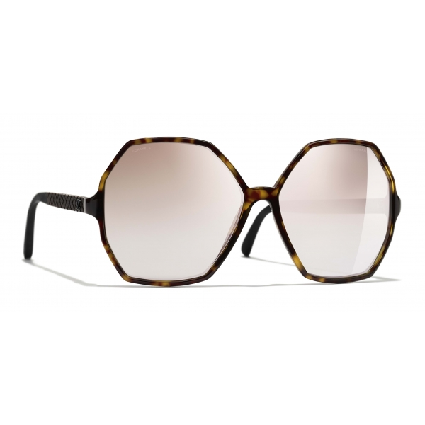 Chanel - Round Sunglasses - Dark Tortoise Beige Mirror - Chanel Eyewear